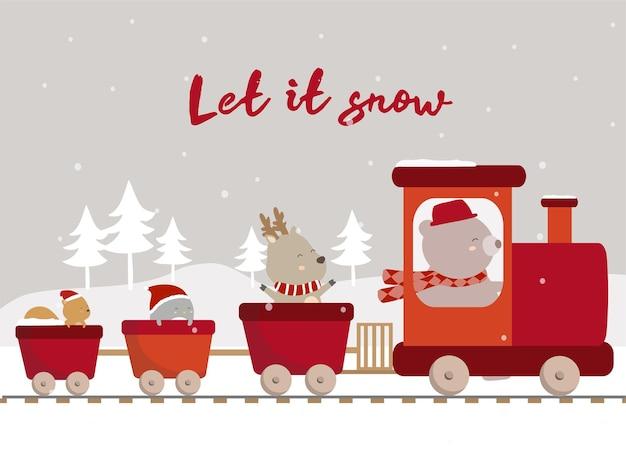 Вектор последней зимы с медведем, оленем, пингвином и белкой едет на поезде Бесплатные векторы