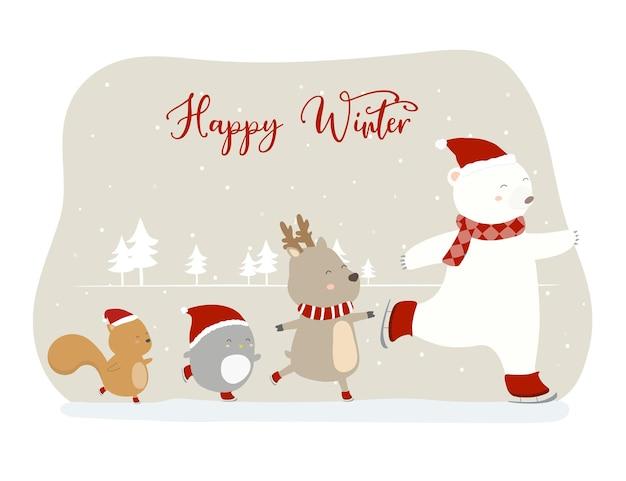 사자, 여우, 고양이 및 사자와 함께 마지막 겨울의 벡터 무료 벡터