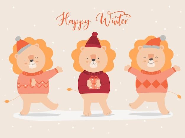 セーターとクリスマス帽子を身に着けているライオンと最後の冬のベクトル 無料ベクター