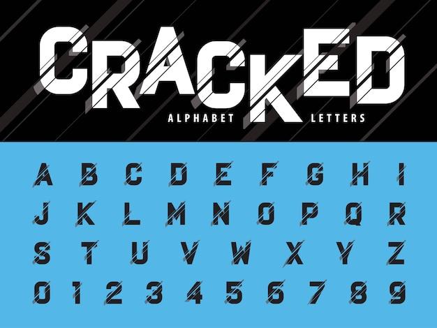 Вектор glitch современный алфавит буквы и цифры Premium векторы