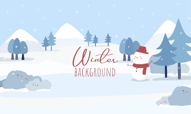 家、道路、雪に覆われた森のベクトル 無料ベクター
