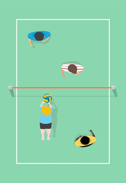 Vector of people playing volleyball