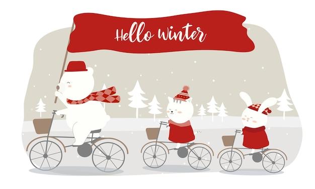 Вектор прошлой зимы с медведем, кошкой и кроликом на велосипеде. Бесплатные векторы