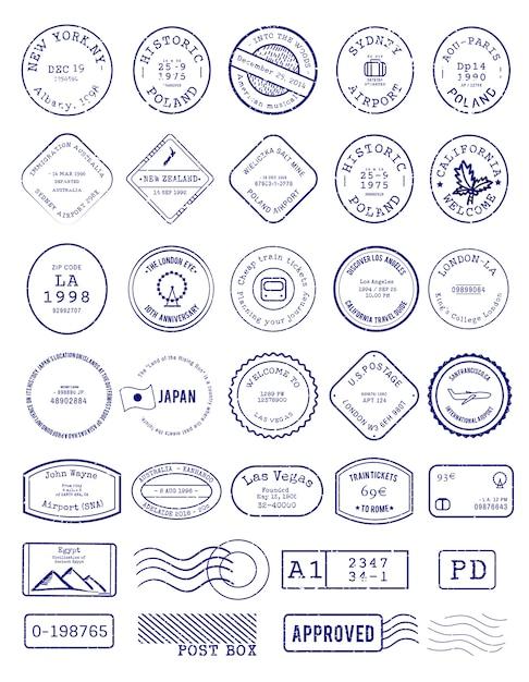 様々なスタンプデザインのベクトル 無料ベクター