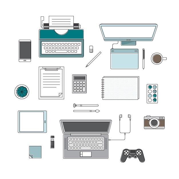 Vector of office supplies Free Vector