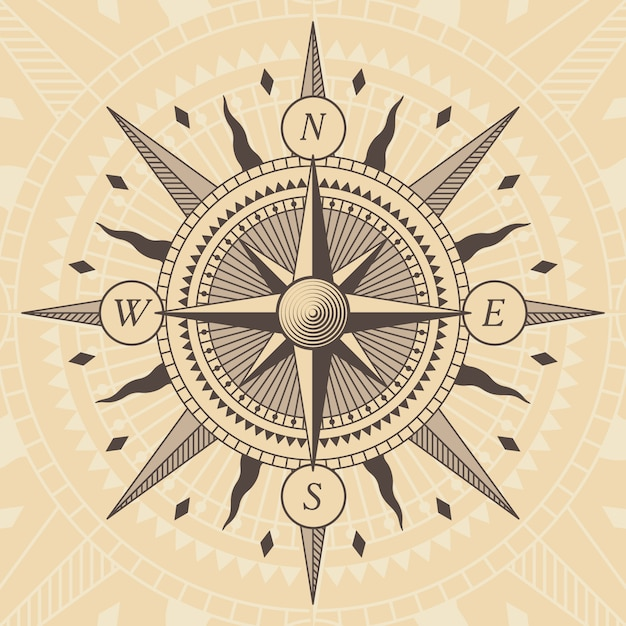 Vector oldstyle wind rose compass Premium Vector