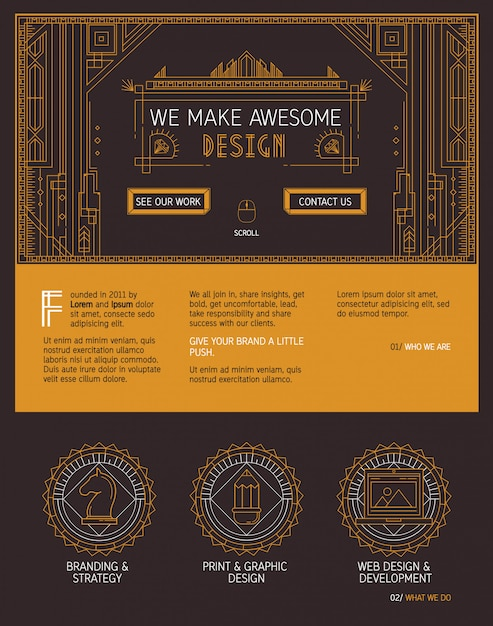 Vector one page website template in art deco style. Premium Vector