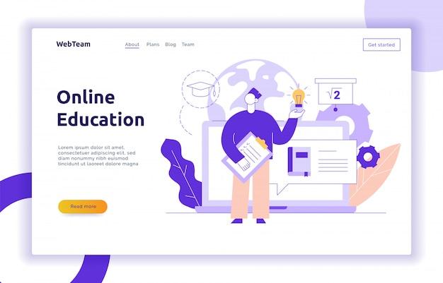 Vector online education web page banner concept Premium Vector
