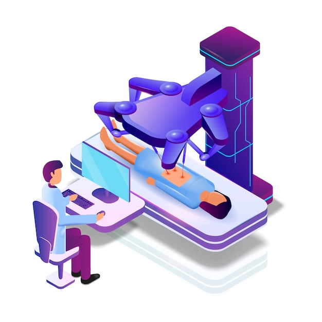 Vector operation female patient with medical robot Premium Vector