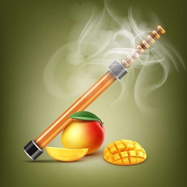 Narghilè elettronico arancione di vettore con mango e fumo sul fondo di colore del pistacchio Vettore gratuito