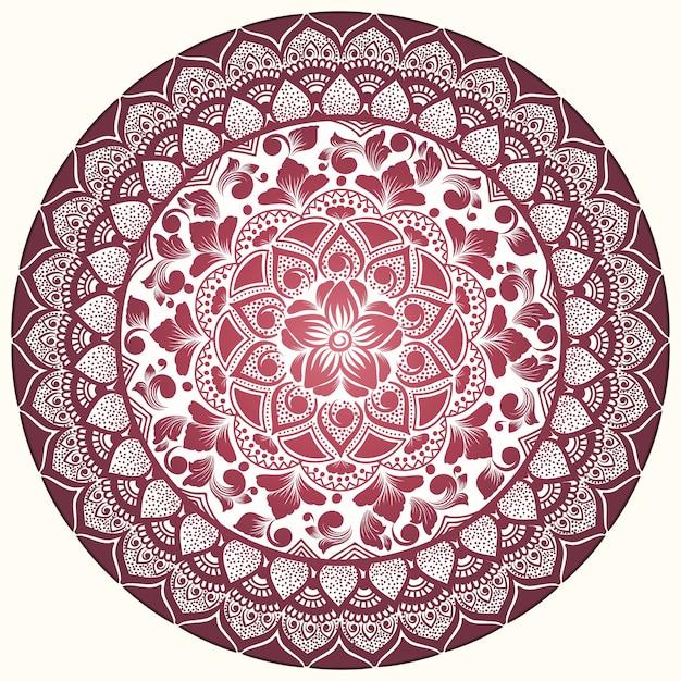 ダマスク織とアラベスクの要素を持つベクトル装飾ラウンドレース。 無料ベクター