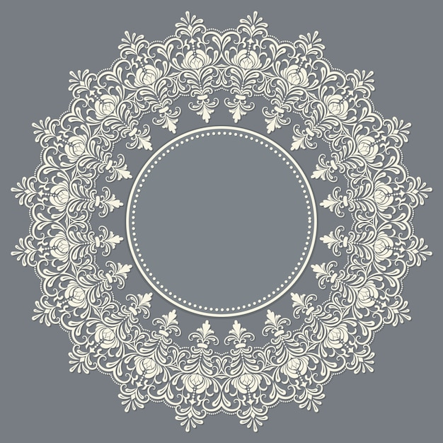 Vector ornamental round lace with damask and arabesque elements. mehndi style. orient traditional ornament. zentangle-like round colored floral ornament. Free Vector