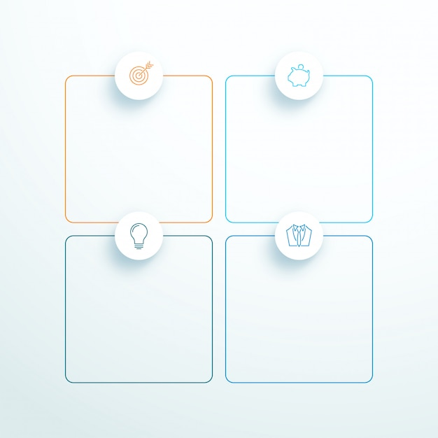 Vector outlined 3d square text boxes with modern icons Premium Vector