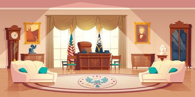 Vector oval cabinet in the white house Free Vector