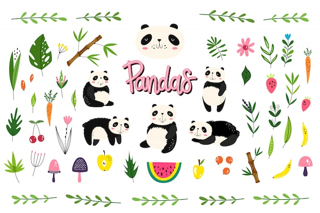 Vector pack with pandas Premium Vector