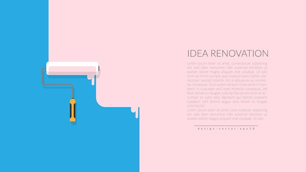Vector of paint roller painting pink color on blue wall Premium Vector