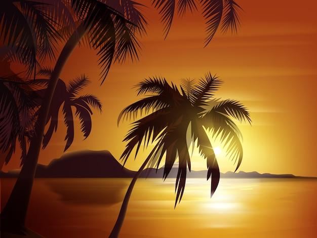 오렌지 일몰, 바다와 바위와 벡터 야자수 실루엣 무료 벡터