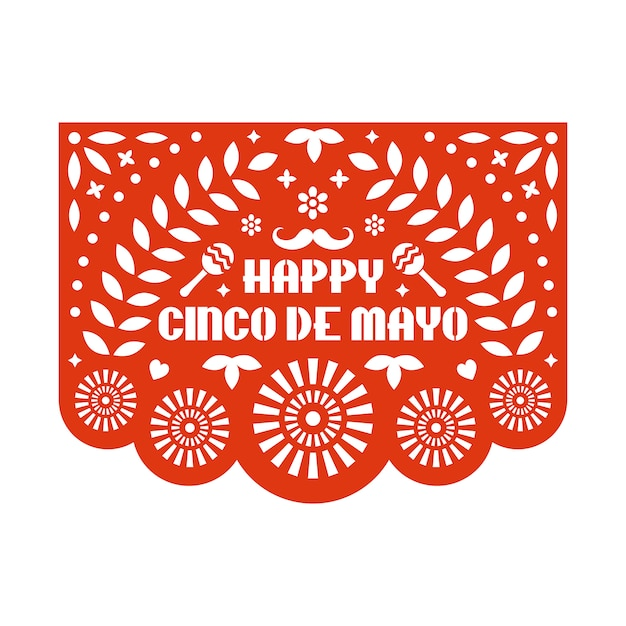 Vector papel picado greeting card with floral pattern and text. happy cinco de mayo. paper cut template. mexican paper garland. Premium Vector