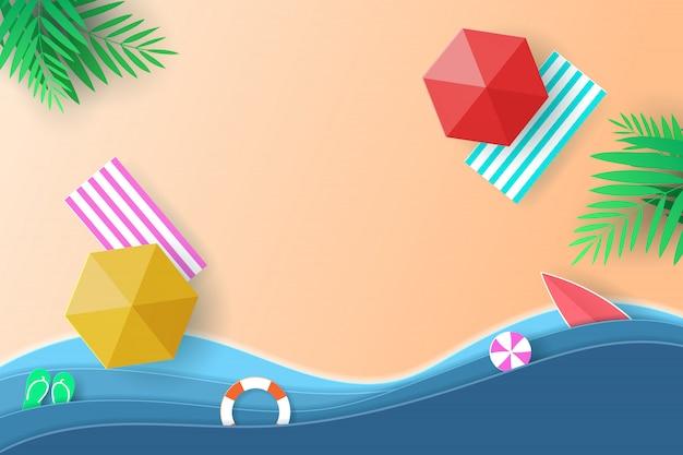 ベクトルペーパーアートと風景、旅行、海のデジタルクラフトスタイル。パラソル、ボール、スイムリング、サーフボード、ココナッツの木の上から見るビーチの背景。 Premiumベクター