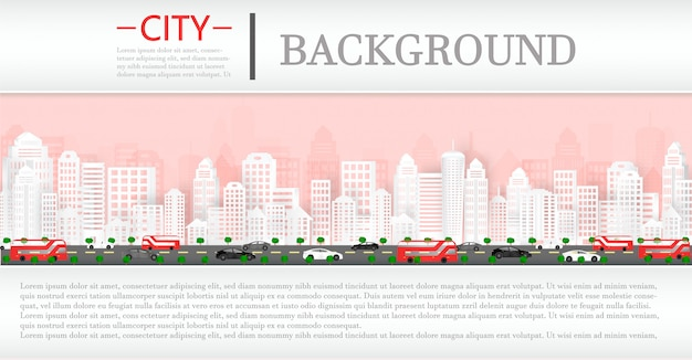 Vector paper cut and cityscape with buildings and homes and a magazine background. Premium Vector