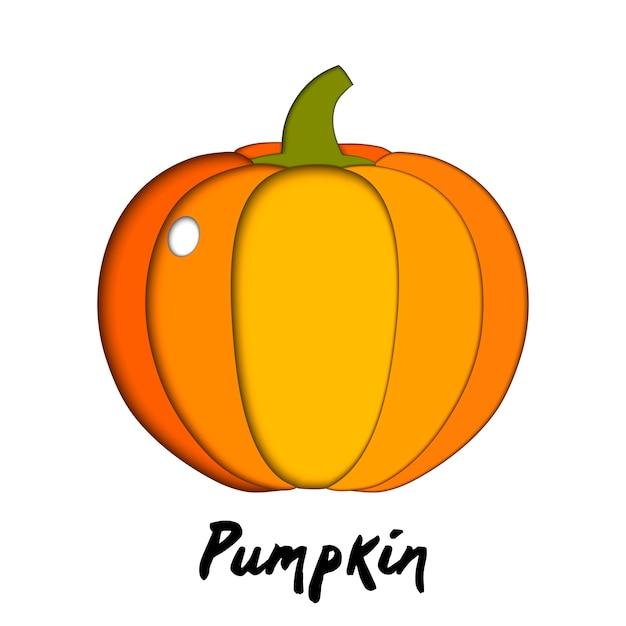 Vector paper cut orange pumpkin, cut shapes Premium Vector