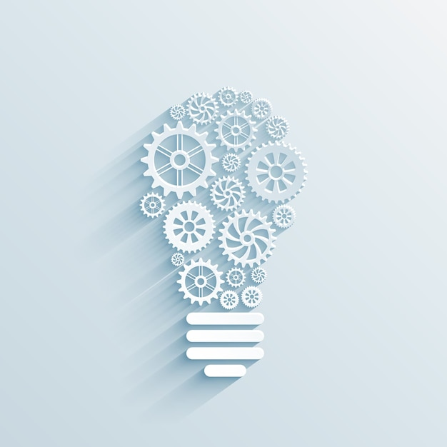 Vector paper light bulb with gears and cogs, business interaction concept Free Vector