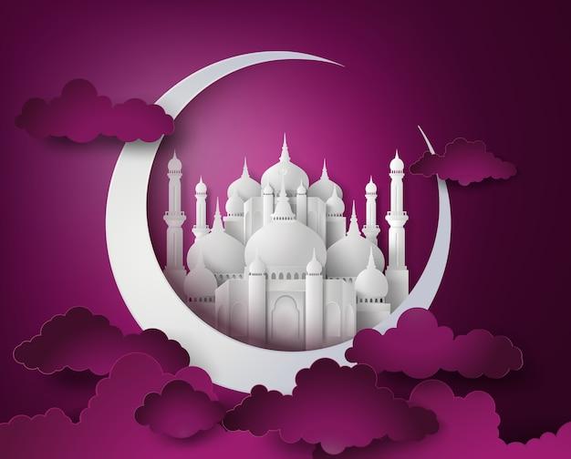 Vector of paper mosque. Premium Vector
