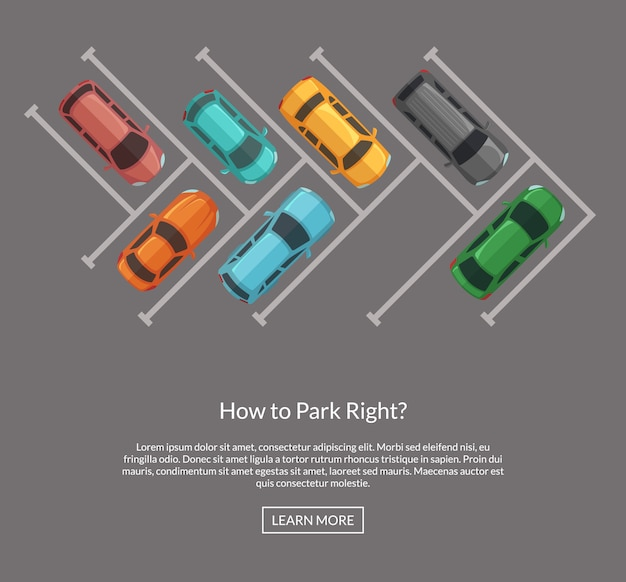 Vector parking lot with cars top view illustration Premium Vector