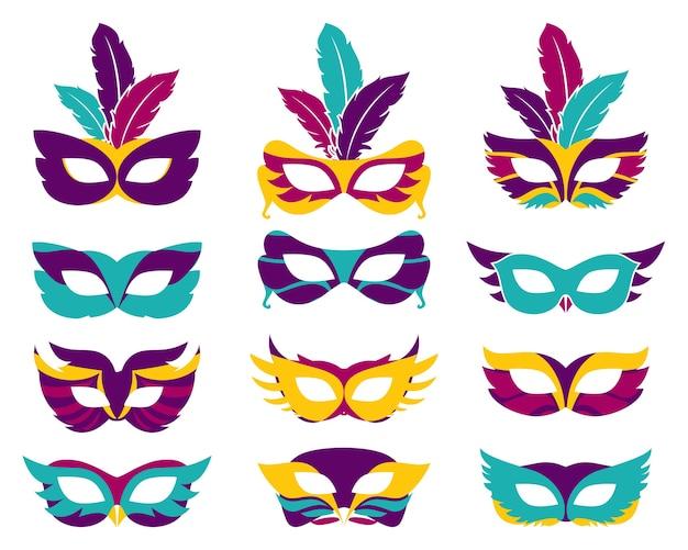 Набор векторных партийных масок. маскирующий силуэт, театр и тайна, модный маскарад Premium векторы