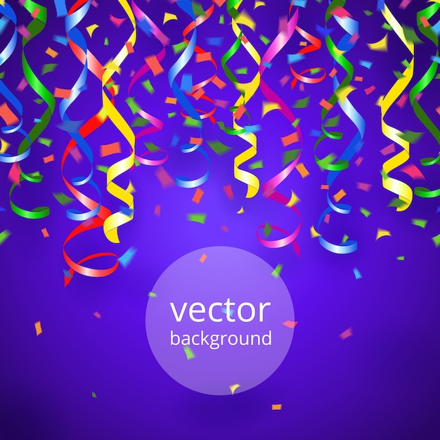 Vector party streamers and confetti on blue background Free Vector