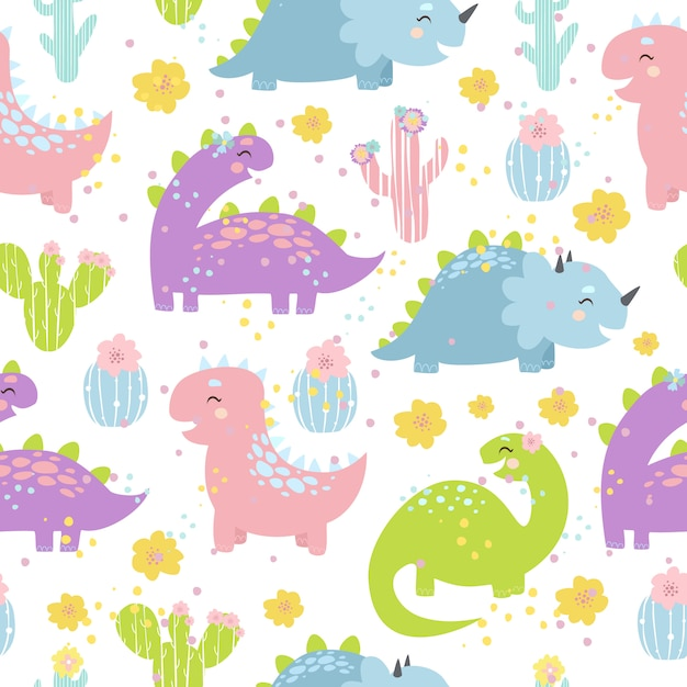 Vector pastel dinosaurs seamless pattern Free Vector
