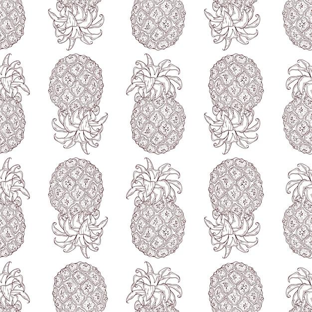 Vector pattern of pineapple in sketch style. Premium Vector