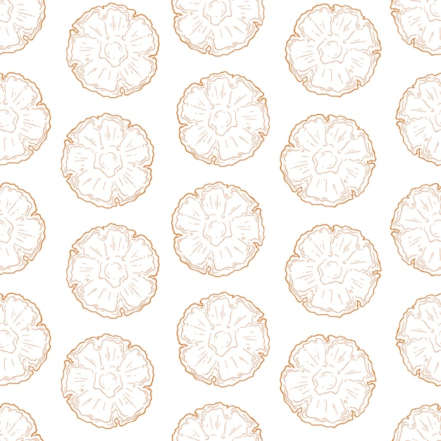 Vector pattern of pineapple in sketch style. Premium Vector