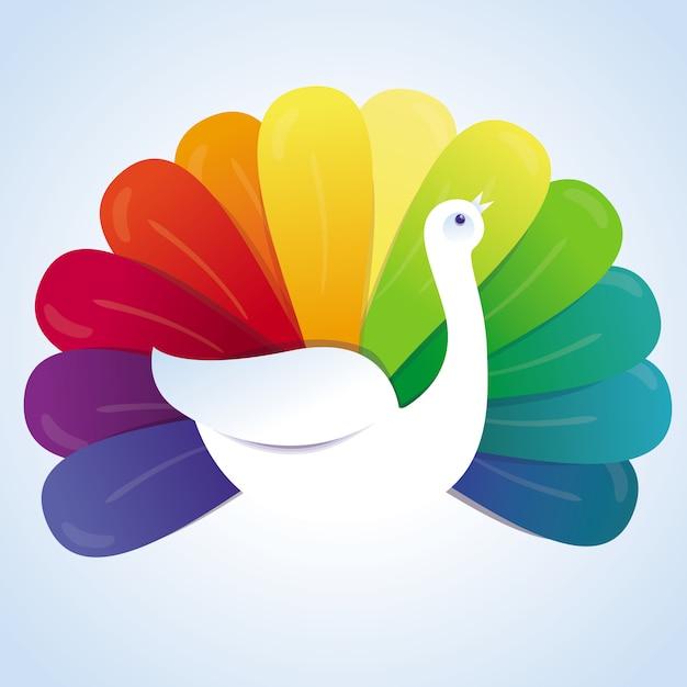 Vector peacock bird with rainbow feathers - abstract concept Premium Vector