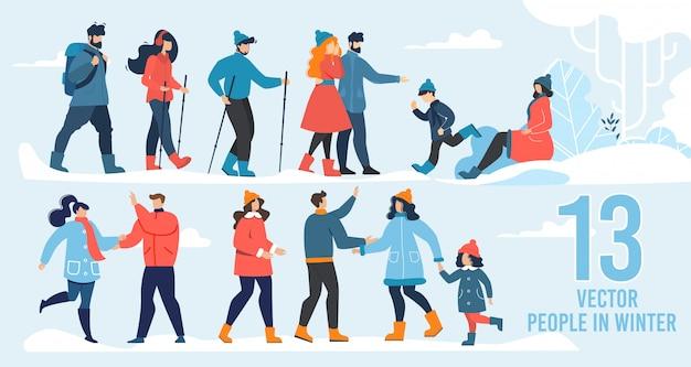 Vector people character in winter scene flat set Premium Vector