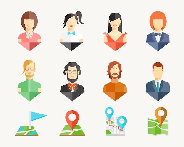 Vector persone uomini e donne avatar perni per mappa Vettore gratuito
