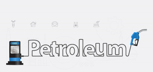 Vector petroleum typographic pump nozzle creative design Premium Vector