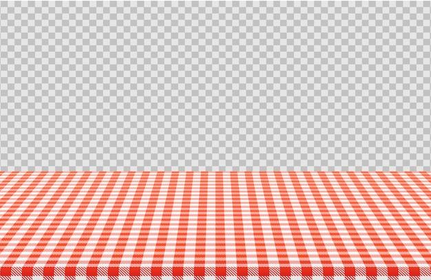 透明に分離されたリネンのテーブルクロスの赤い市松模様を持つベクトルピクニックテーブル Premiumベクター
