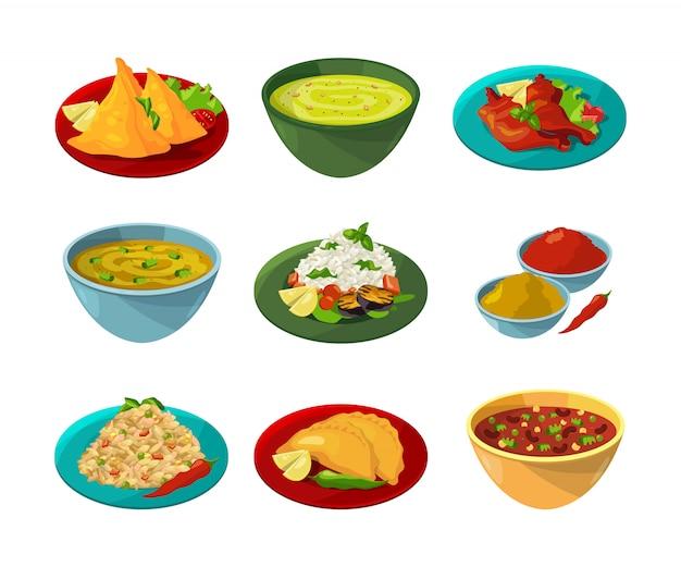 Vector pictures of indian national cuisine Premium Vector