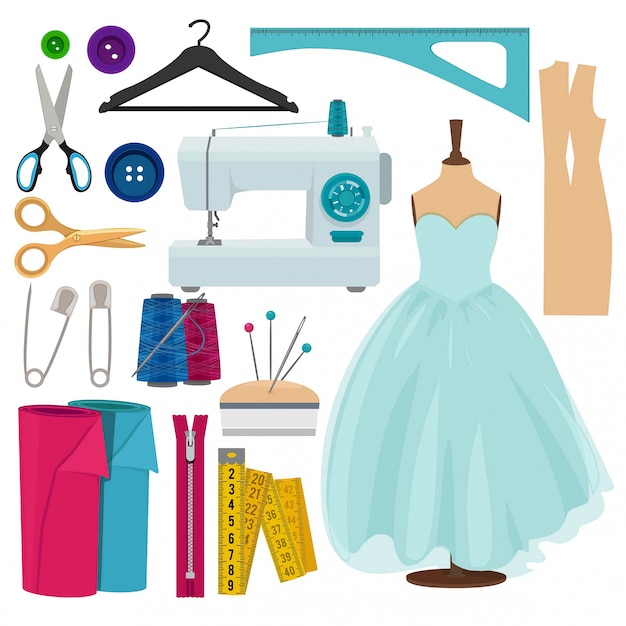 Vector pictures of sewing tools isolated Premium Vector