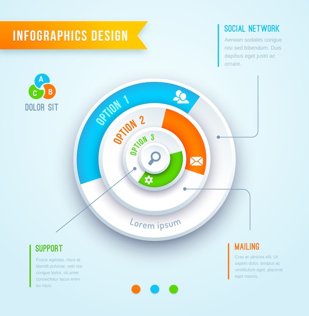 Vector pie chart circle graph infographics element Free Vector