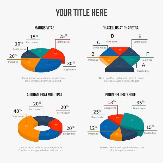 Grafici a torta vettoriali in moderno stile piatto 3d. presentazione infografica, grafica finanziaria, figure di interesse Vettore gratuito