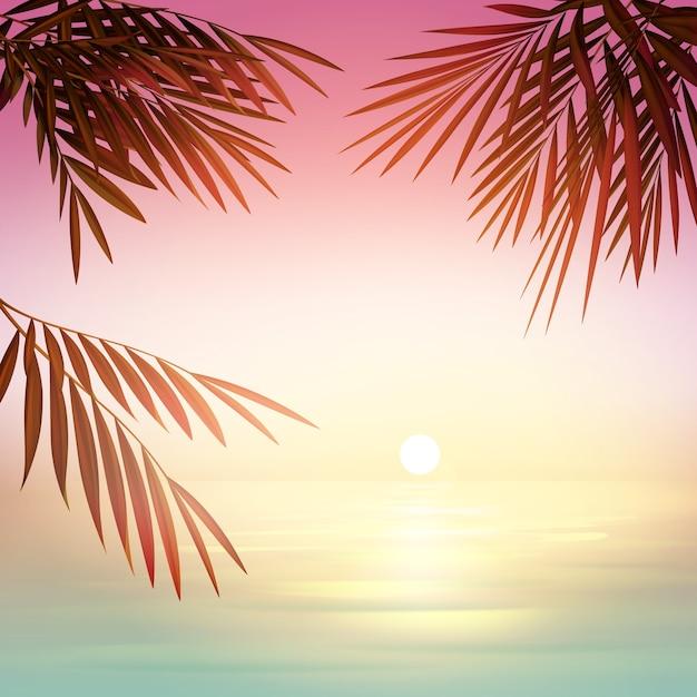 Tramonto di sfocatura rosa vettoriale con sole, mare azzurro e sagome di foglie di palma Vettore gratuito