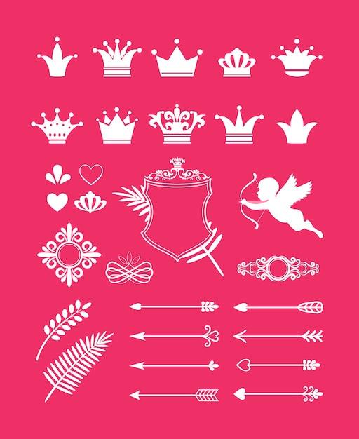 Вектор розовый декор с элементами дизайна короны, сердца и стрелки для принцессы и гламура Бесплатные векторы