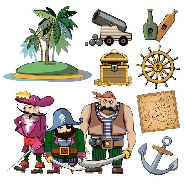 Caratteri del pirata di vettore impostati nello stile del fumetto. costume e palma, amo e isola, tesoro della ricchezza, mappa e rum, cannone e illustrazione dell'avventura Vettore gratuito