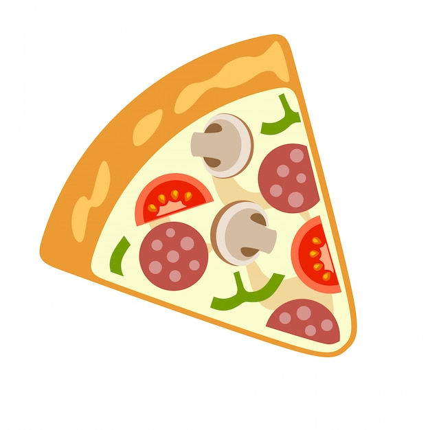 Vector pizza images on a white background. Premium Vector
