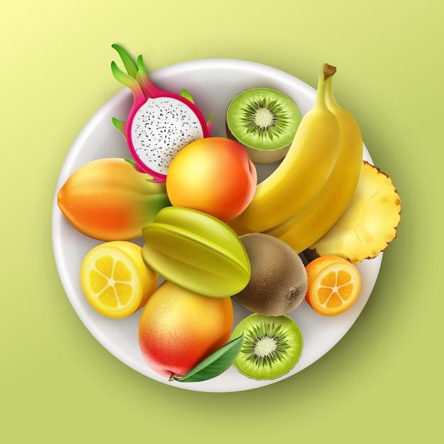 トロピカルフルーツパイナップル、キウイ、マンゴー、パパイヤ、バナナ、ドラゴンフルーツ、桃、キンカンレモンのトップビューが背景に分離されたベクトルプレート Premiumベクター