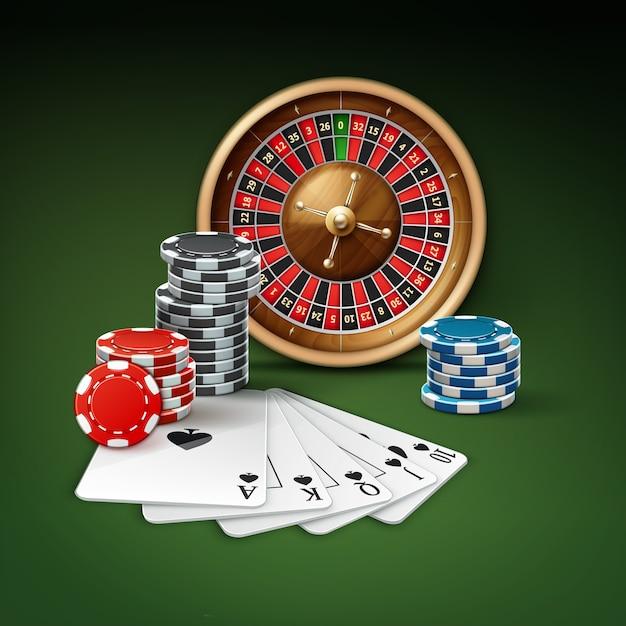 Vector carte da gioco o scala reale, ruota della roulette e pile di fiches del casinò rosso, blu, nero vista laterale superiore isolato su priorità bassa verde Vettore gratuito