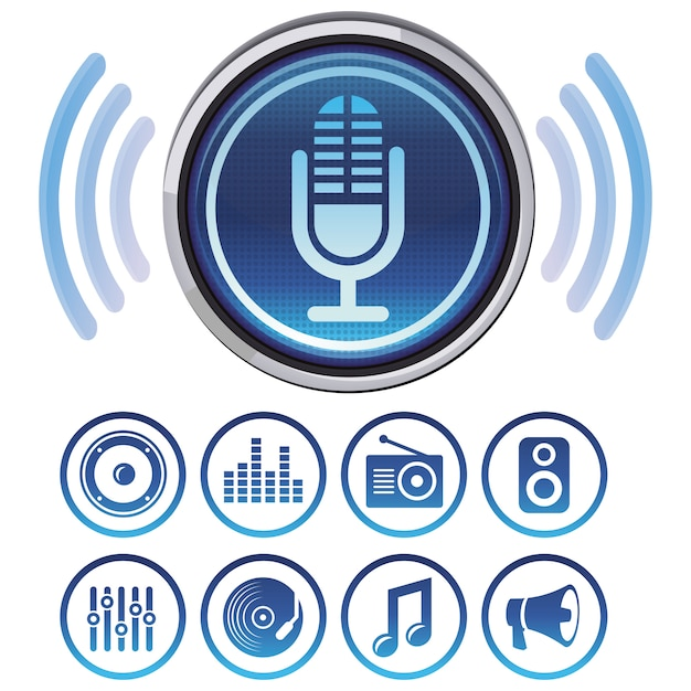 Vector podcast icons and symbols for audio apps Premium Vector