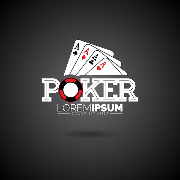 Vector poker logo design template with gambling elements.casino illustration with ace set playing cards on dark background Premium Vector